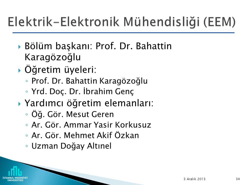  Bölüm başkanı: Prof. Dr. Bahattin Karagözoğlu  Öğretim üyeleri: ◦ Prof. Dr. Bahattin Karagözoğlu ◦ Yrd. Doç. Dr. İbrahim Genç  Yardımcı öğretim el