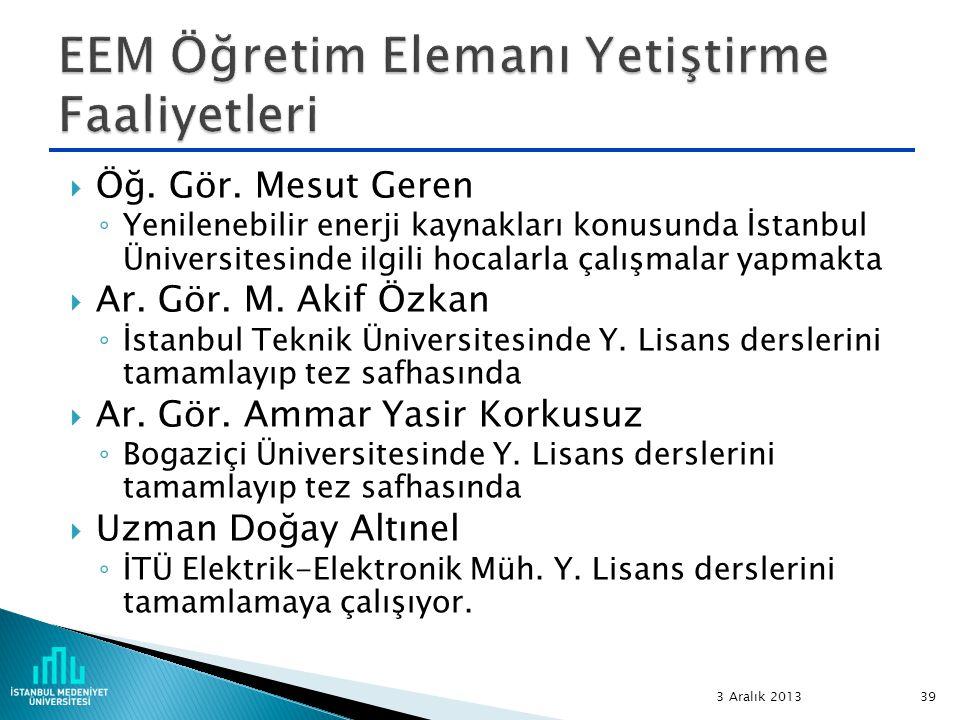  Öğ. Gör. Mesut Geren ◦ Yenilenebilir enerji kaynakları konusunda İstanbul Üniversitesinde ilgili hocalarla çalışmalar yapmakta  Ar. Gör. M. Akif Öz