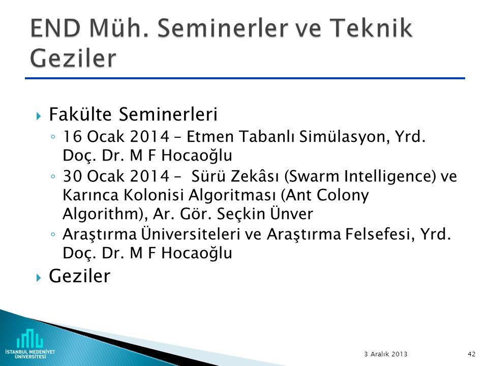  Fakülte Seminerleri ◦ 16 Ocak 2014 – Etmen Tabanlı Simülasyon, Yrd. Doç. Dr. M F Hocaoğlu ◦ 30 Ocak 2014 – Sürü Zekâsı (Swarm Intelligence) ve Karın