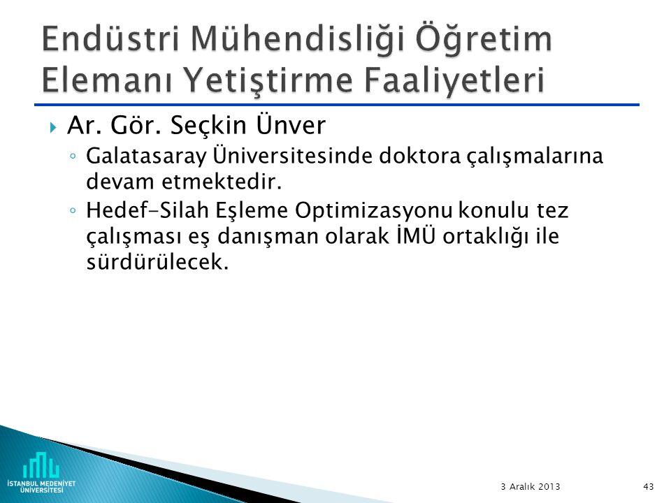  Ar. Gör. Seçkin Ünver ◦ Galatasaray Üniversitesinde doktora çalışmalarına devam etmektedir. ◦ Hedef-Silah Eşleme Optimizasyonu konulu tez çalışması