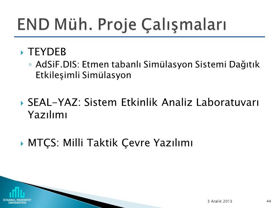  TEYDEB ◦ AdSiF.DIS: Etmen tabanlı Simülasyon Sistemi Dağıtık Etkileşimli Simülasyon  SEAL-YAZ: Sistem Etkinlik Analiz Laboratuvarı Yazılımı  MTÇS: