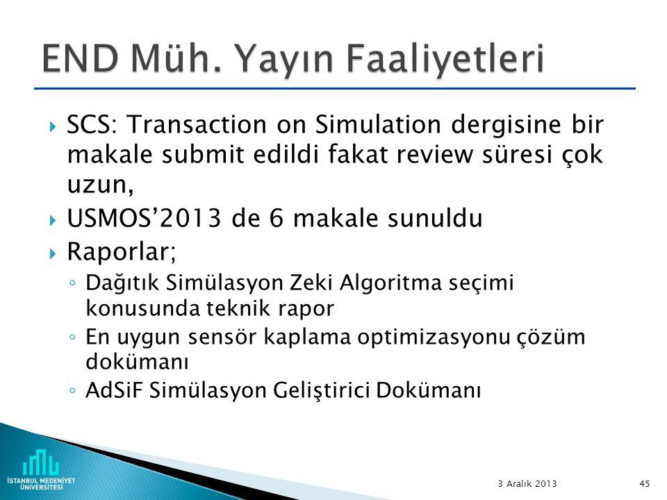  SCS: Transaction on Simulation dergisine bir makale submit edildi fakat review süresi çok uzun,  USMOS'2013 de 6 makale sunuldu  Raporlar; ◦ Dağıt