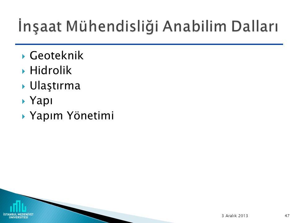  Geoteknik  Hidrolik  Ulaştırma  Yapı  Yapım Yönetimi 3 Aralık 2013 47