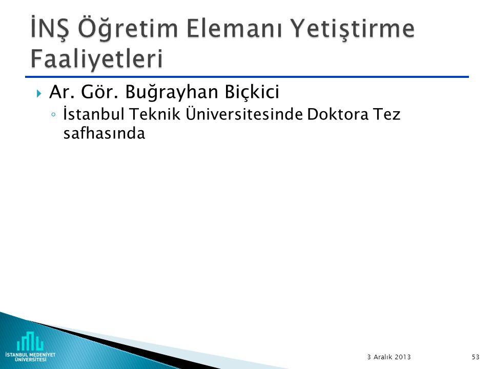  Ar. Gör. Buğrayhan Biçkici ◦ İstanbul Teknik Üniversitesinde Doktora Tez safhasında 3 Aralık 2013 53