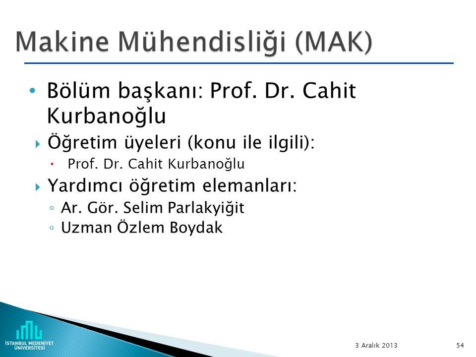 Bölüm başkanı: Prof. Dr. Cahit Kurbanoğlu  Öğretim üyeleri (konu ile ilgili):  Prof. Dr. Cahit Kurbanoğlu  Yardımcı öğretim elemanları: ◦ Ar. Gör.