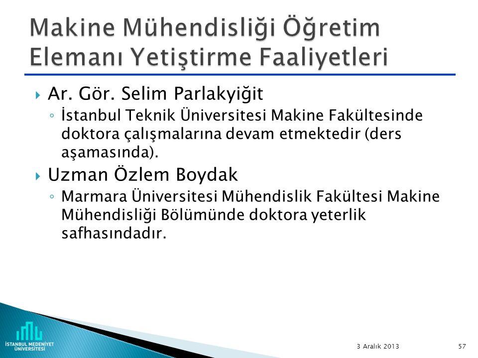  Ar. Gör. Selim Parlakyiğit ◦ İstanbul Teknik Üniversitesi Makine Fakültesinde doktora çalışmalarına devam etmektedir (ders aşamasında).  Uzman Özle