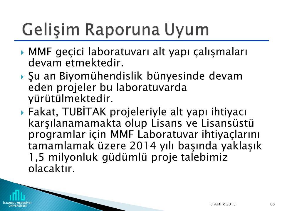  MMF geçici laboratuvarı alt yapı çalışmaları devam etmektedir.  Şu an Biyomühendislik bünyesinde devam eden projeler bu laboratuvarda yürütülmekted