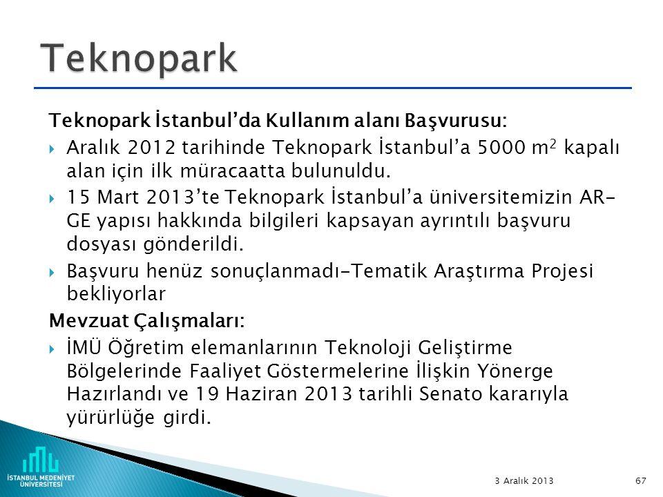Teknopark İstanbul'da Kullanım alanı Başvurusu:  Aralık 2012 tarihinde Teknopark İstanbul'a 5000 m 2 kapalı alan için ilk müracaatta bulunuldu.  15