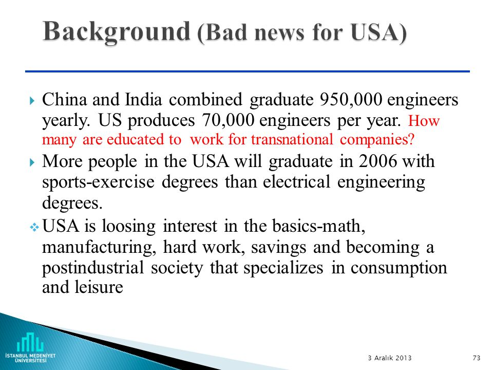 73  China and India combined graduate 950,000 engineers yearly.