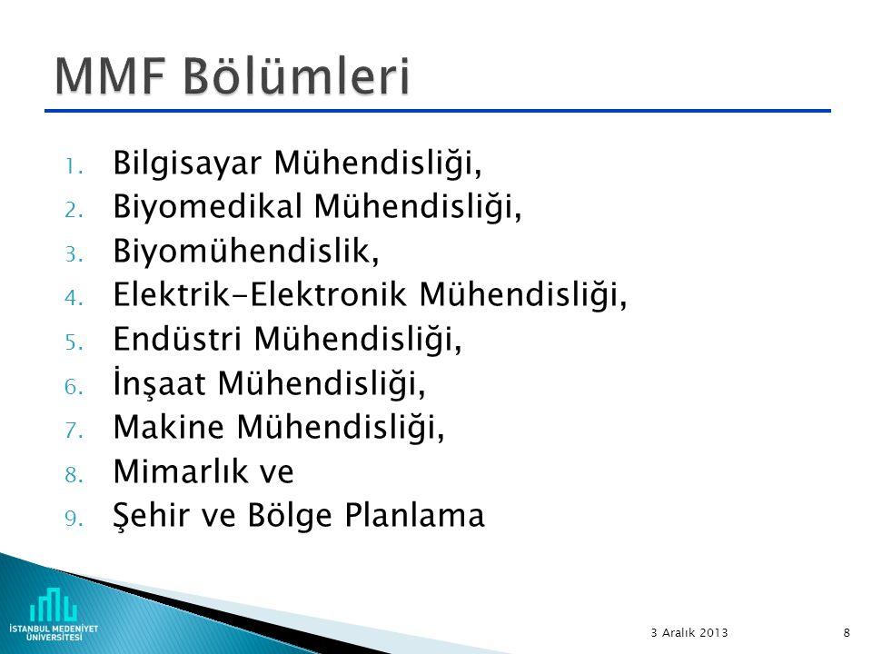 1. Bilgisayar Mühendisliği, 2. Biyomedikal Mühendisliği, 3. Biyomühendislik, 4. Elektrik-Elektronik Mühendisliği, 5. Endüstri Mühendisliği, 6. İnşaat