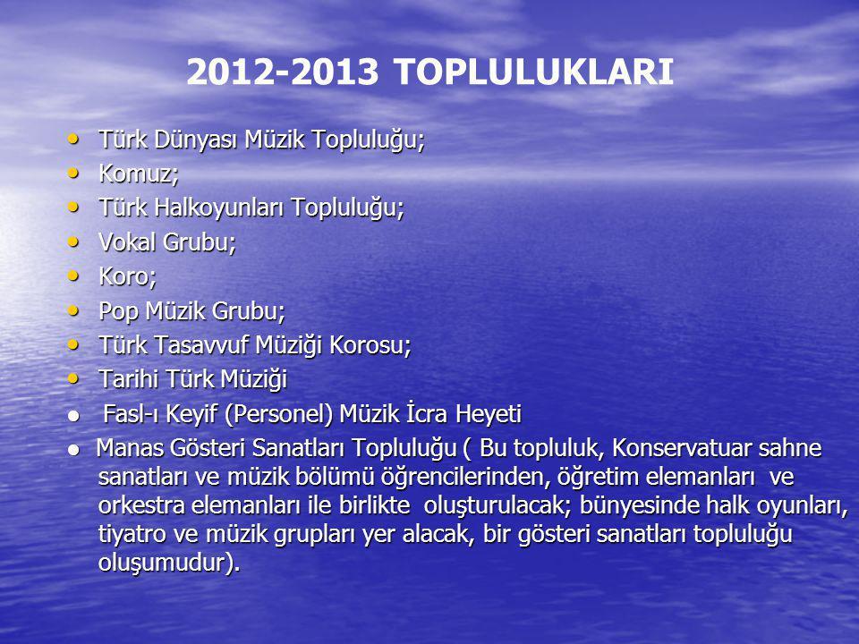 2012-2013 TOPLULUKLARI Türk Dünyası Müzik Topluluğu; Türk Dünyası Müzik Topluluğu; Komuz; Komuz; Türk Halkoyunları Topluluğu; Türk Halkoyunları Toplul