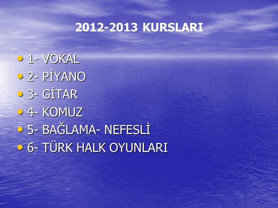 2012-2013 KURSLARI 1- VOKAL 1- VOKAL 2- PİYANO 2- PİYANO 3- GİTAR 3- GİTAR 4- KOMUZ 4- KOMUZ 5- BAĞLAMA- NEFESLİ 5- BAĞLAMA- NEFESLİ 6- TÜRK HALK OYUN
