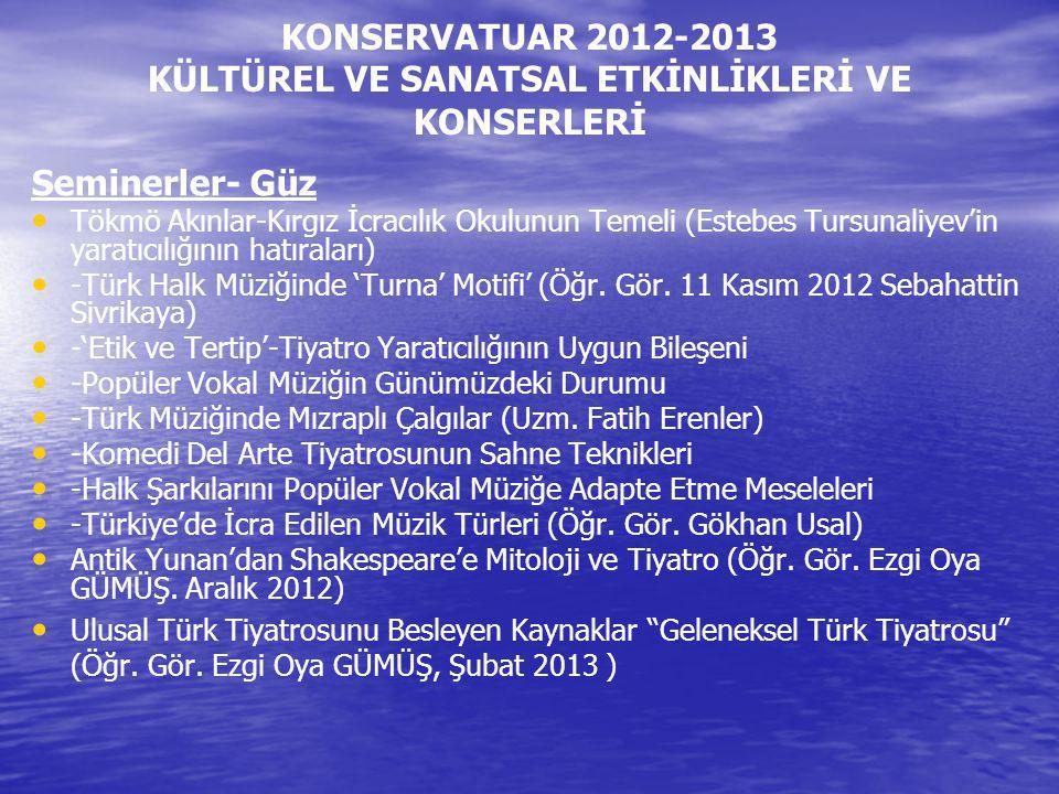 KONSERVATUAR 2012-2013 KÜLTÜREL VE SANATSAL ETKİNLİKLERİ VE KONSERLERİ Seminerler- Güz Tökmö Akınlar-Kırgız İcracılık Okulunun Temeli (Estebes Tursuna