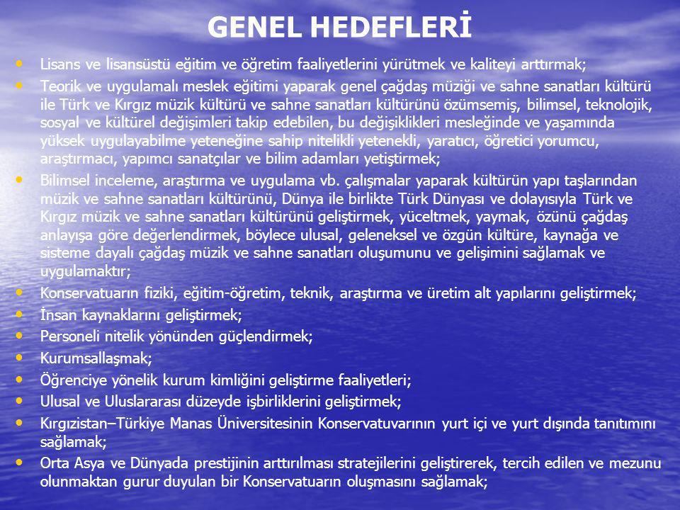 MÜZİK BÖLÜMÜ HEDEFLERİ 1.