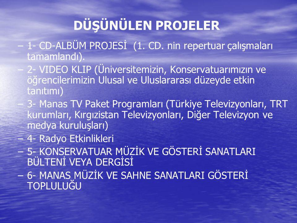 DÜŞÜNÜLEN PROJELER – –1- CD-ALBÜM PROJESİ (1. CD. nin repertuar çalışmaları tamamlandı). – –2- VIDEO KLIP (Üniversitemizin, Konservatuarımızın ve öğre