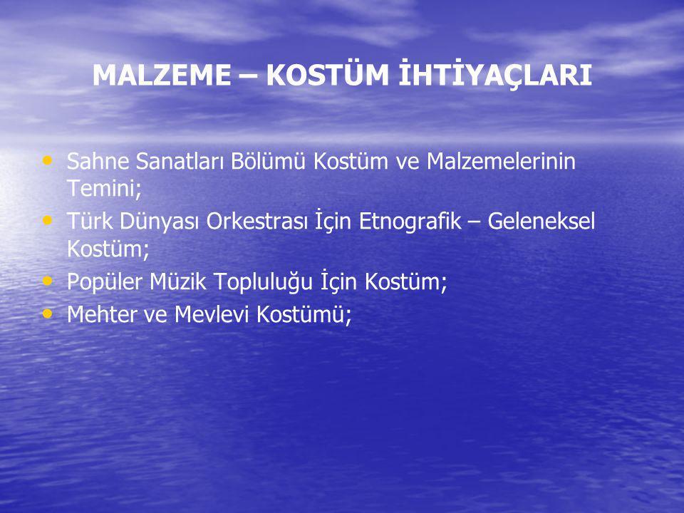 MALZEME – KOSTÜM İHTİYAÇLARI Sahne Sanatları Bölümü Kostüm ve Malzemelerinin Temini; Türk Dünyası Orkestrası İçin Etnografik – Geleneksel Kostüm; Popü