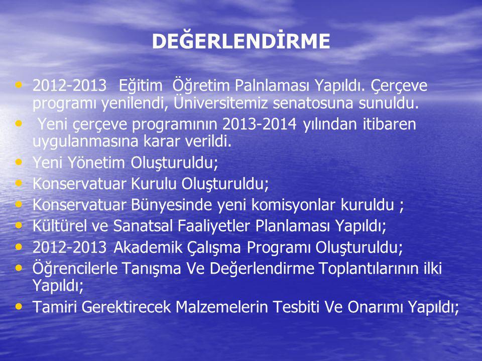 DEĞERLENDİRME 2012-2013 Eğitim Öğretim Palnlaması Yapıldı. Çerçeve programı yenilendi, Üniversitemiz senatosuna sunuldu. Yeni çerçeve programının 2013