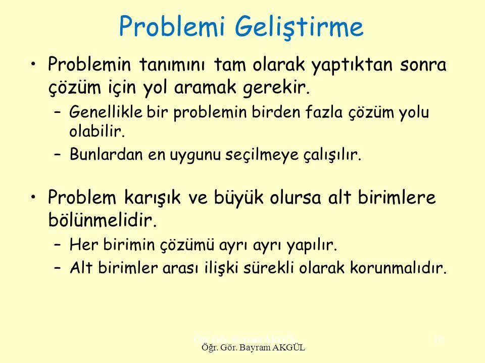 Problemi Geliştirme Problemin tanımını tam olarak yaptıktan sonra çözüm için yol aramak gerekir. –Genellikle bir problemin birden fazla çözüm yolu ola