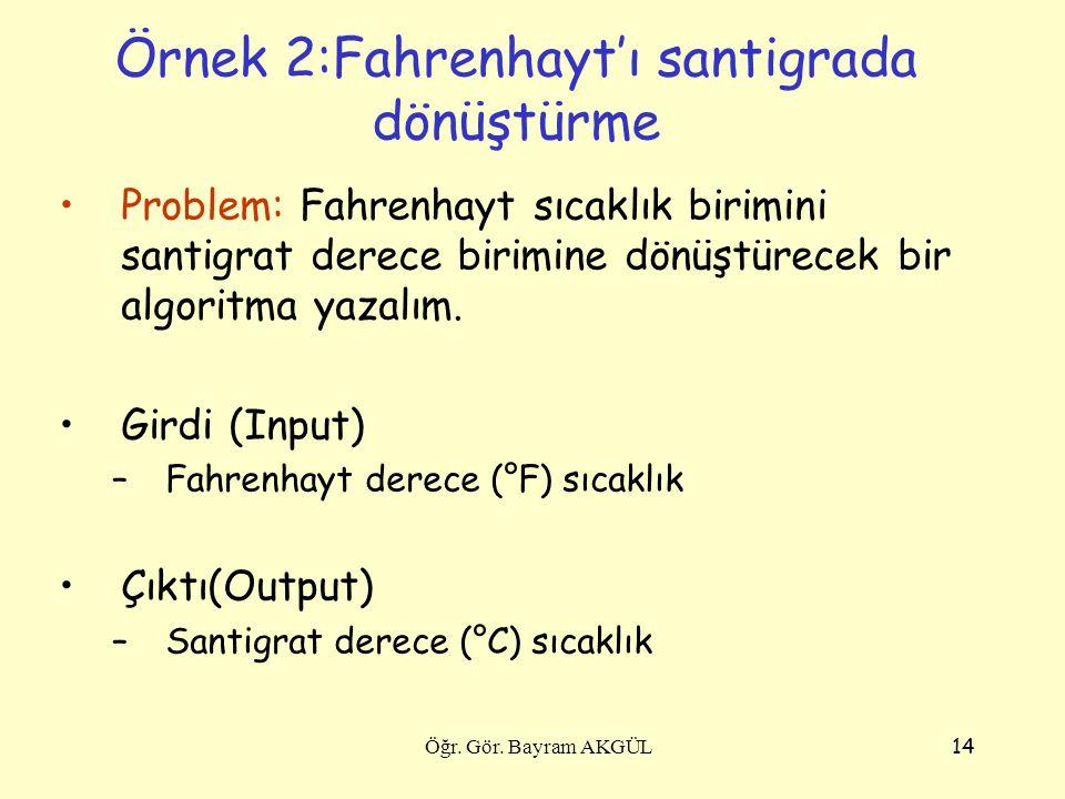 14 Örnek 2:Fahrenhayt'ı santigrada dönüştürme Problem: Fahrenhayt sıcaklık birimini santigrat derece birimine dönüştürecek bir algoritma yazalım. Gird