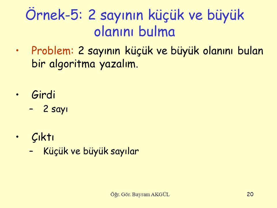 20 Örnek-5: 2 sayının küçük ve büyük olanını bulma Problem: 2 sayının küçük ve büyük olanını bulan bir algoritma yazalım. Girdi –2 sayı Çıktı –Küçük v
