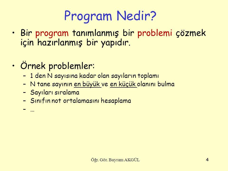 4 Program Nedir? Bir program tanımlanmış bir problemi çözmek için hazırlanmış bir yapıdır. Örnek problemler: –1 den N sayısına kadar olan sayıların to
