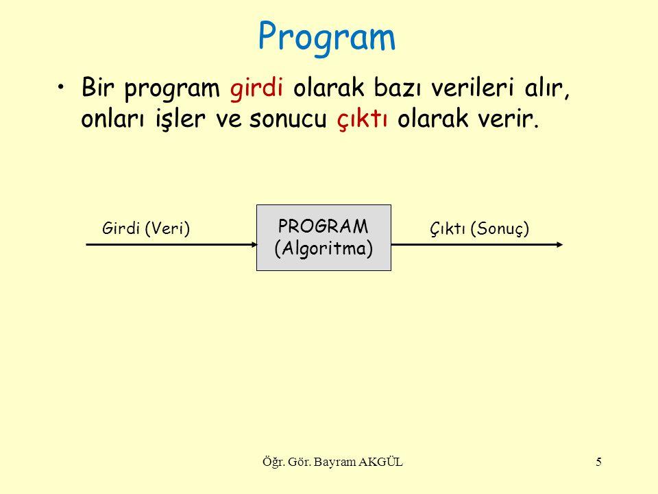 Program Bir program girdi olarak bazı verileri alır, onları işler ve sonucu çıktı olarak verir. Öğr. Gör. Bayram AKGÜL5 PROGRAM (Algoritma) Girdi (Ver