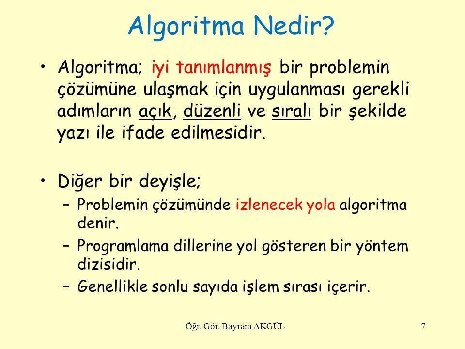 Algoritma Nedir? Algoritma; iyi tanımlanmış bir problemin çözümüne ulaşmak için uygulanması gerekli adımların açık, düzenli ve sıralı bir şekilde yazı
