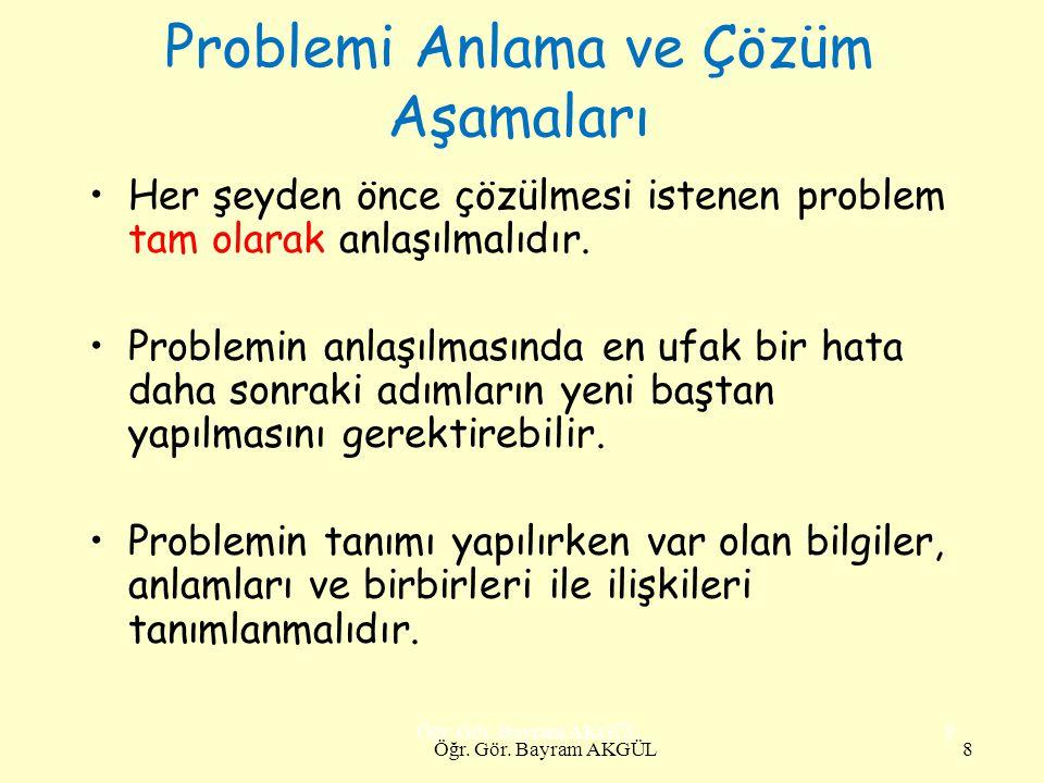 Problemi Anlama ve Çözüm Aşamaları Her şeyden önce çözülmesi istenen problem tam olarak anlaşılmalıdır. Problemin anlaşılmasında en ufak bir hata daha