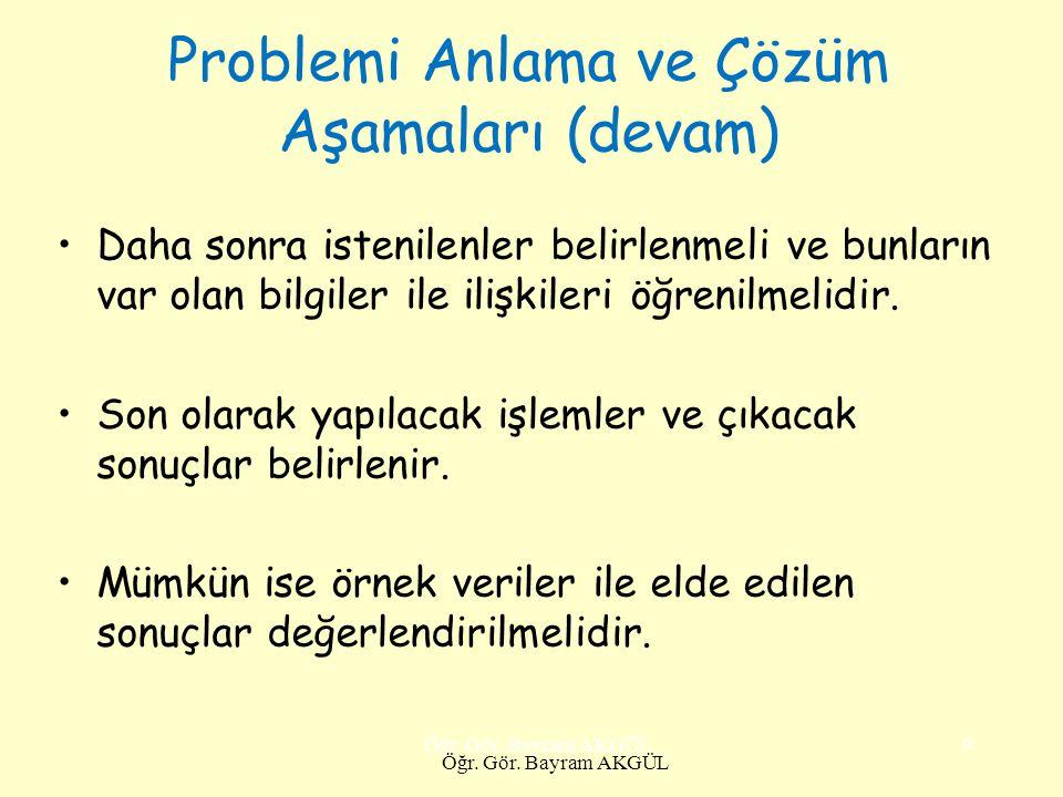 Problemi Geliştirme Problemin tanımını tam olarak yaptıktan sonra çözüm için yol aramak gerekir.