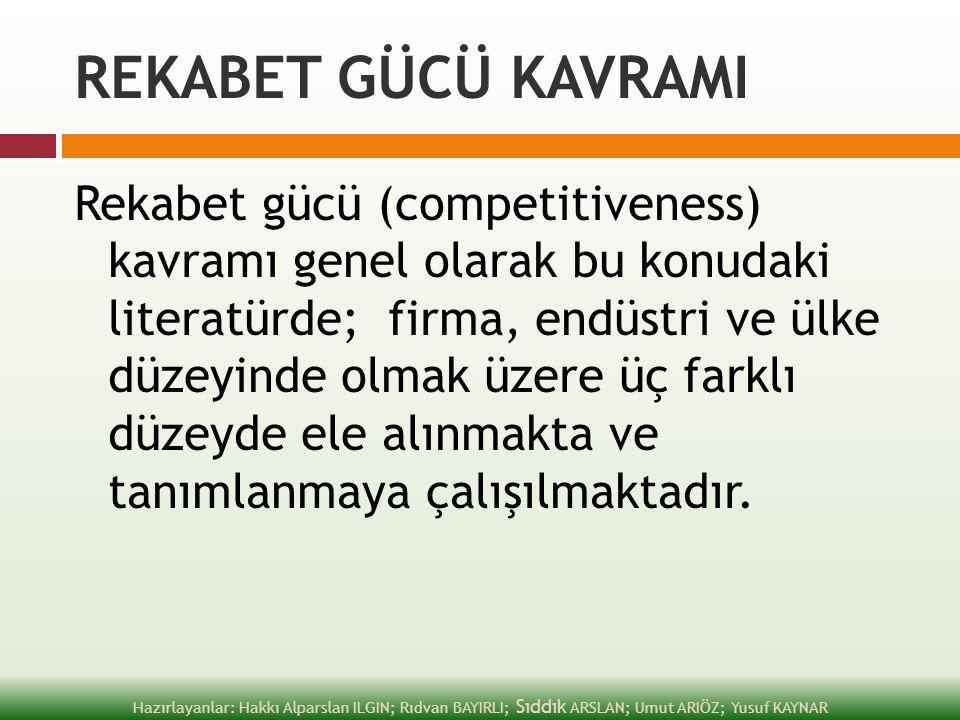 REKABET GÜCÜ KAVRAMI Rekabet gücü (competitiveness) kavramı genel olarak bu konudaki literatürde; firma, endüstri ve ülke düzeyinde olmak üzere üç far