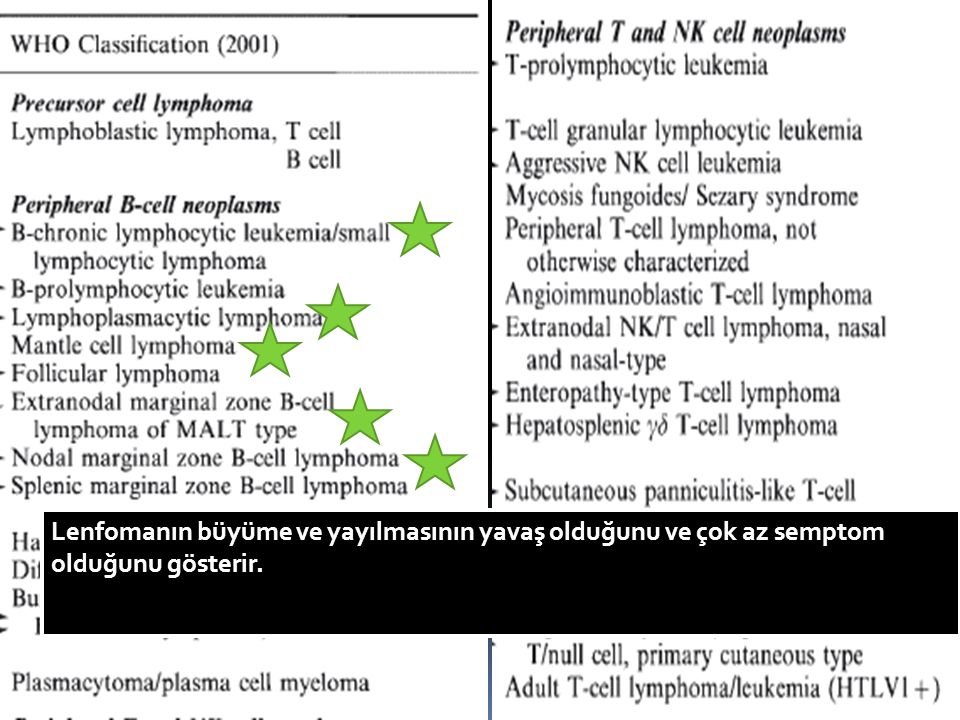 Follicular lymphoma22.1% Extranodal marginal zone lymphoma of mucosa-associated lymphoid tissue type 7.6% Small lymphocytic lymphoma/chronic lymphocytic leukemia6.7% Mantle cell6.0% Splenic marginal zone lymphoma1.8% Lymphoplasmacytic lymphoma1.2% Nodal marginal zone B-cell lymphoma (±monocytoid B cells)1.0%
