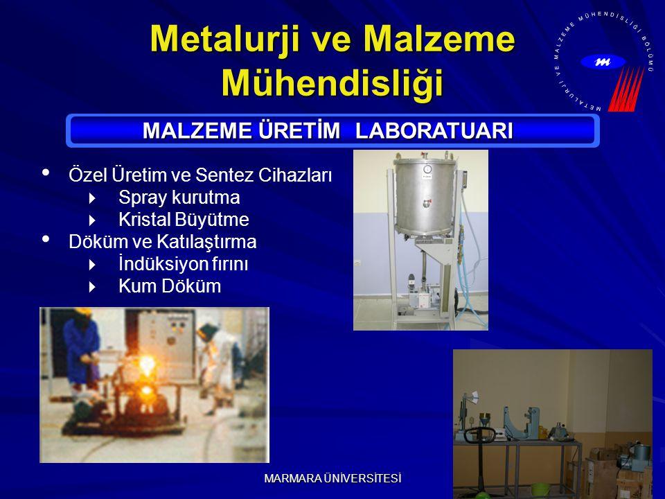 MARMARA ÜNİVERSİTESİ Metalurji ve Malzeme Mühendisliği MALZEME ÜRETİM LABORATUARI Özel Üretim ve Sentez Cihazları  Spray kurutma  Kristal Büyütme Döküm ve Katılaştırma  İndüksiyon fırını  Kum Döküm
