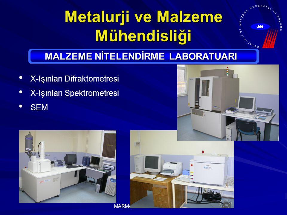 MARMARA ÜNİVERSİTESİ Metalurji ve Malzeme Mühendisliği MALZEME NİTELENDİRME LABORATUARI X-Işınları Difraktometresi X-Işınları Spektrometresi SEM