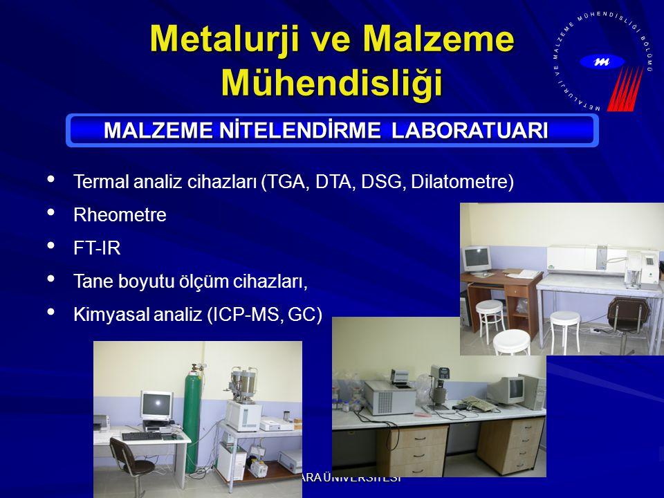 MARMARA ÜNİVERSİTESİ Metalurji ve Malzeme Mühendisliği MALZEME NİTELENDİRME LABORATUARI Termal analiz cihazları (TGA, DTA, DSG, Dilatometre) Rheometre FT-IR Tane boyutu ölçüm cihazları, Kimyasal analiz (ICP-MS, GC)