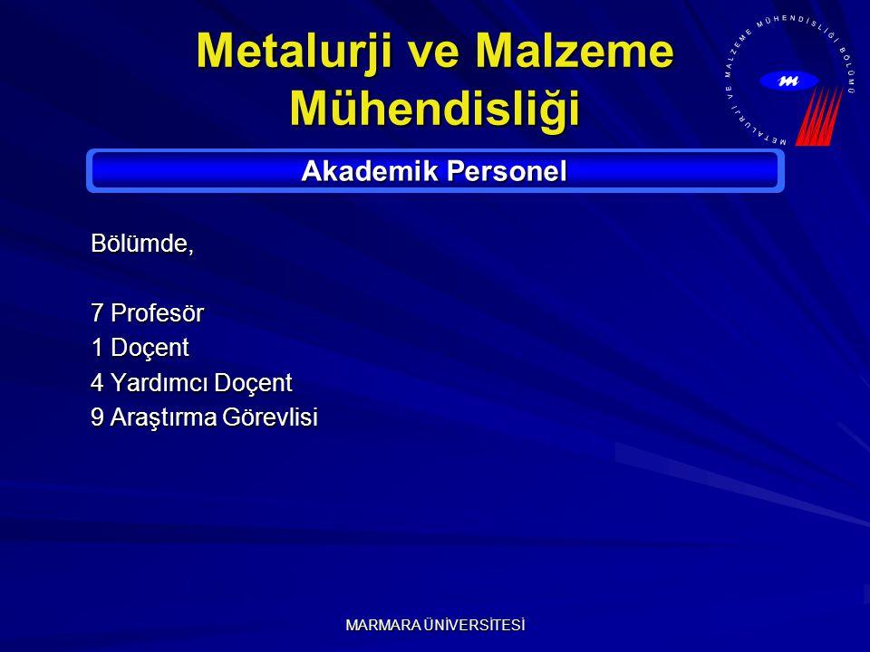 MARMARA ÜNİVERSİTESİ Metalurji ve Malzeme Mühendisliği Akademik Personel Bölümde, 7 Profesör 1 Doçent 4 Yardımcı Doçent 9 Araştırma Görevlisi