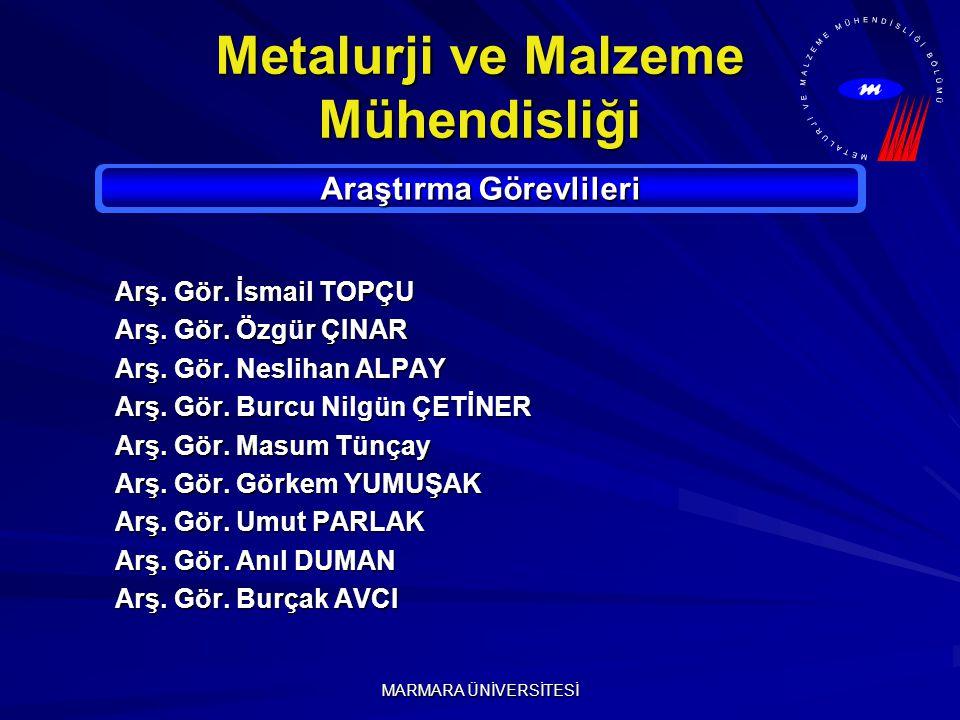 MARMARA ÜNİVERSİTESİ Metalurji ve Malzeme Mühendisliği Araştırma Görevlileri Arş.