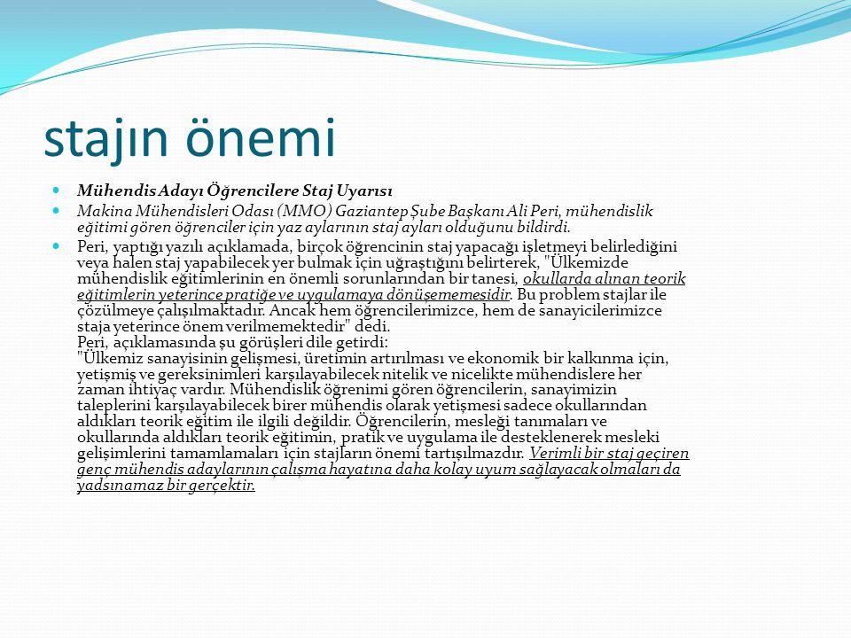 stajın önemi Mühendis Adayı Öğrencilere Staj Uyarısı Makina Mühendisleri Odası (MMO) Gaziantep Şube Başkanı Ali Peri, mühendislik eğitimi gören öğrenc