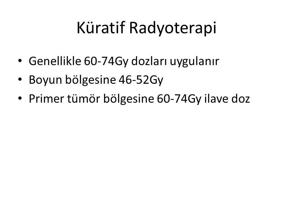 Küratif Radyoterapi Genellikle 60-74Gy dozları uygulanır Boyun bölgesine 46-52Gy Primer tümör bölgesine 60-74Gy ilave doz
