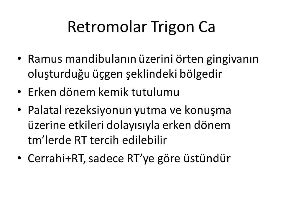 Retromolar Trigon Ca Ramus mandibulanın üzerini örten gingivanın oluşturduğu üçgen şeklindeki bölgedir Erken dönem kemik tutulumu Palatal rezeksiyonun