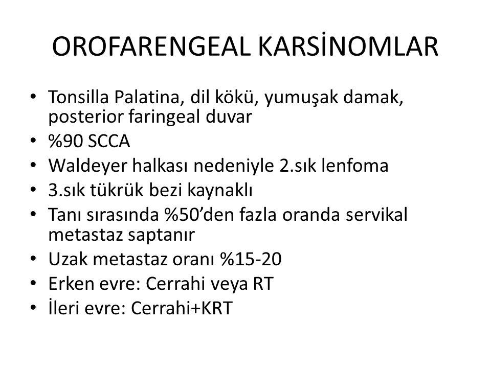 OROFARENGEAL KARSİNOMLAR Tonsilla Palatina, dil kökü, yumuşak damak, posterior faringeal duvar %90 SCCA Waldeyer halkası nedeniyle 2.sık lenfoma 3.sık