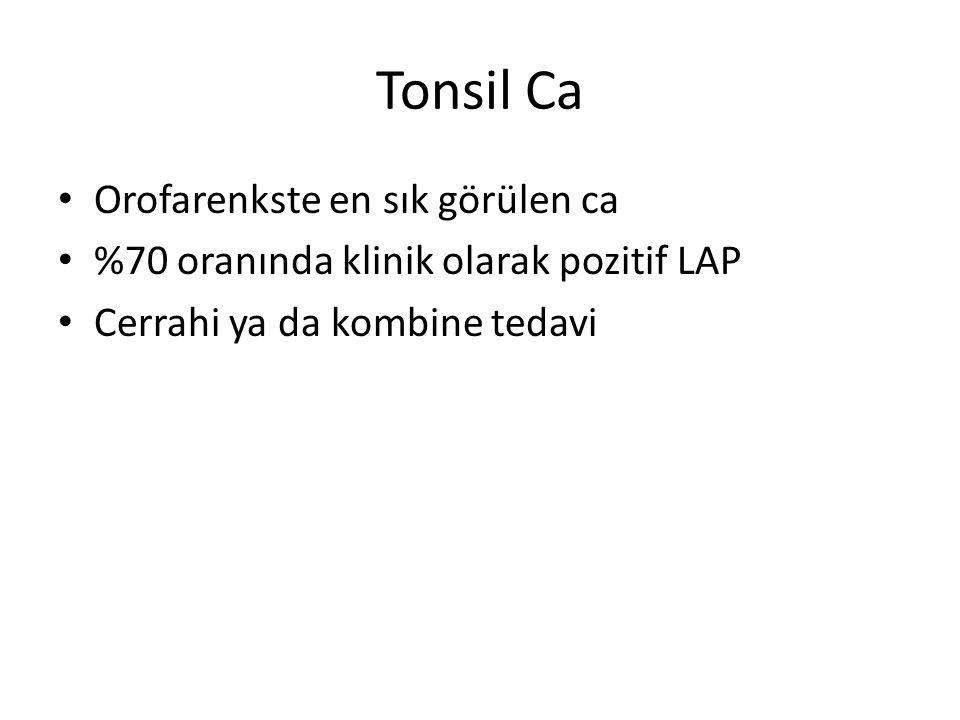 Tonsil Ca Orofarenkste en sık görülen ca %70 oranında klinik olarak pozitif LAP Cerrahi ya da kombine tedavi