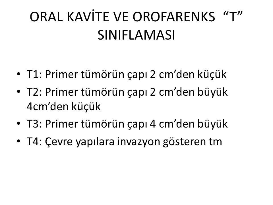 """ORAL KAVİTE VE OROFARENKS """"T"""" SINIFLAMASI T1: Primer tümörün çapı 2 cm'den küçük T2: Primer tümörün çapı 2 cm'den büyük 4cm'den küçük T3: Primer tümör"""