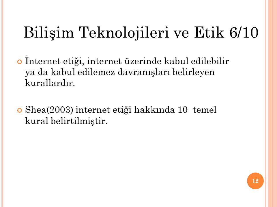 İnternet etiği, internet üzerinde kabul edilebilir ya da kabul edilemez davranışları belirleyen kurallardır. Shea(2003) internet etiği hakkında 10 tem