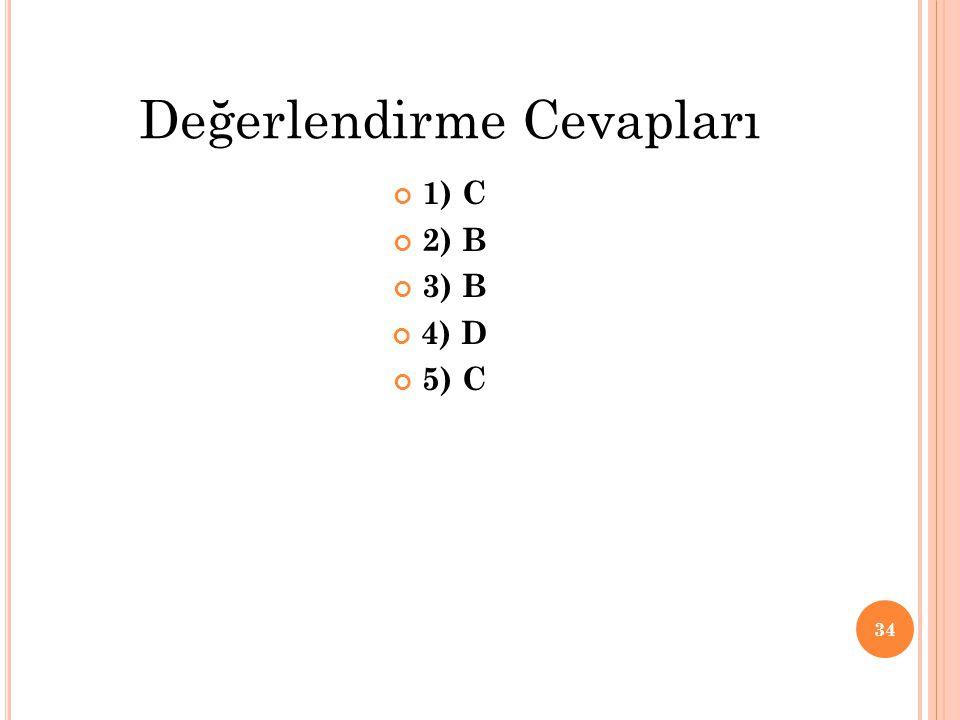 1) C 2) B 3) B 4) D 5) C 34 Değerlendirme Cevapları
