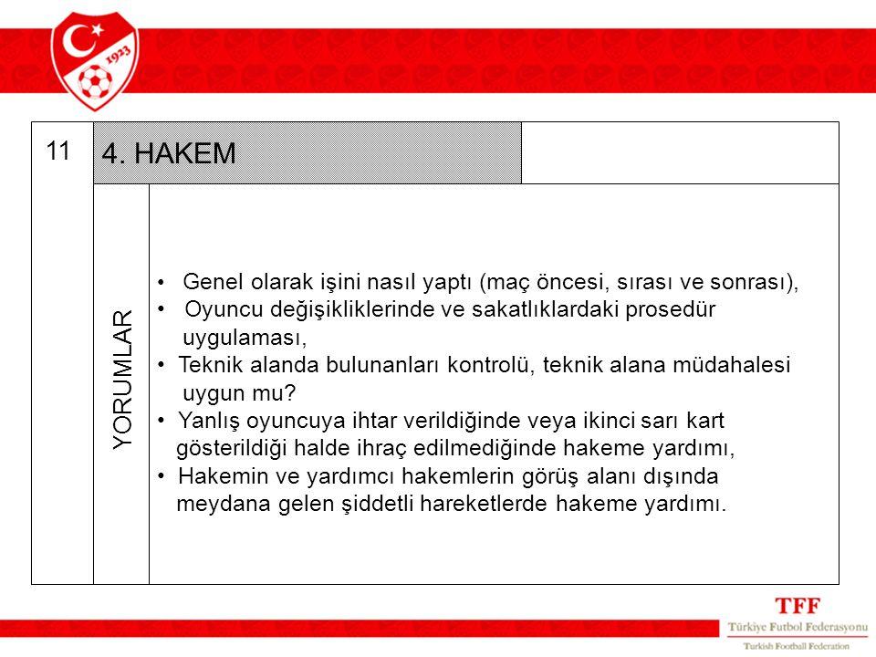 11 4. HAKEM Genel olarak işini nasıl yaptı (maç öncesi, sırası ve sonrası), Oyuncu değişikliklerinde ve sakatlıklardaki prosedür uygulaması, Teknik al