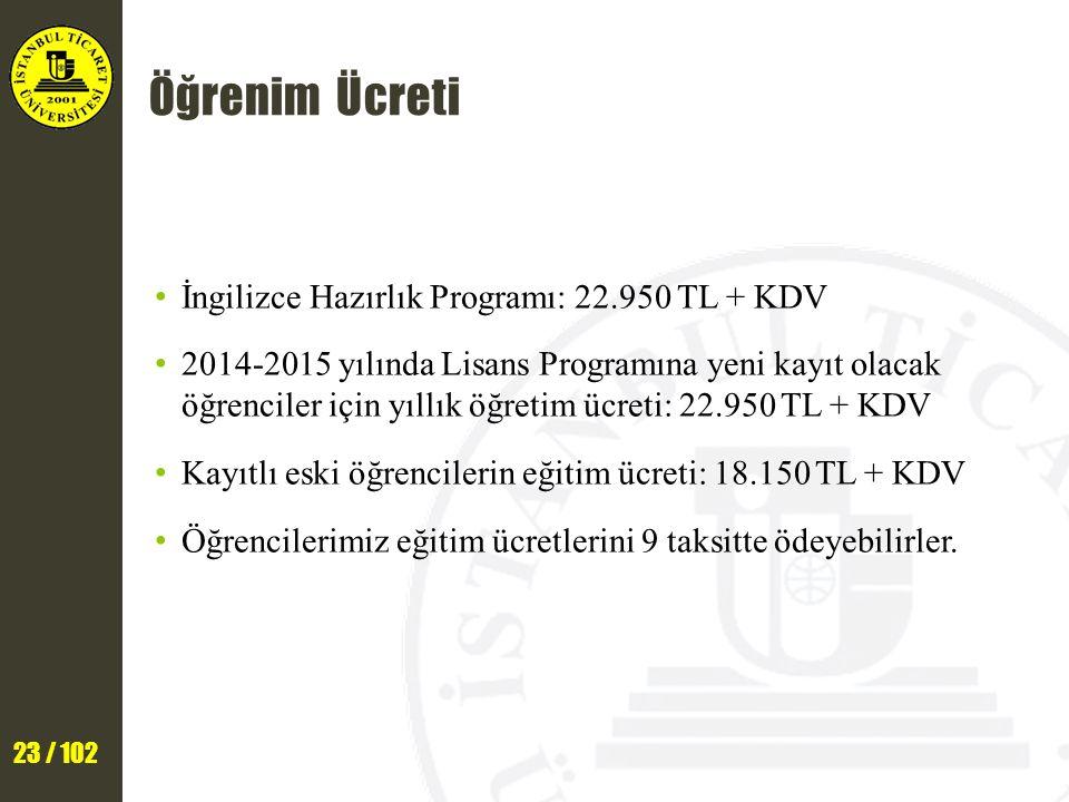 23 / 102 Öğrenim Ücreti İngilizce Hazırlık Programı: 22.950 TL + KDV 2014-2015 yılında Lisans Programına yeni kayıt olacak öğrenciler için yıllık öğretim ücreti: 22.950 TL + KDV Kayıtlı eski öğrencilerin eğitim ücreti: 18.150 TL + KDV Öğrencilerimiz eğitim ücretlerini 9 taksitte ödeyebilirler.
