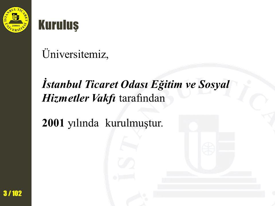 24 / 102 Eğitim İndirimi ve Yaşam Destek Payları İstanbul Ticaret Üniversitesinde eğitim görmenin ayrıcalığını «eğitim indirimleri» ve «yaşam destek paylarıyla» daha çok hissedeceksiniz.