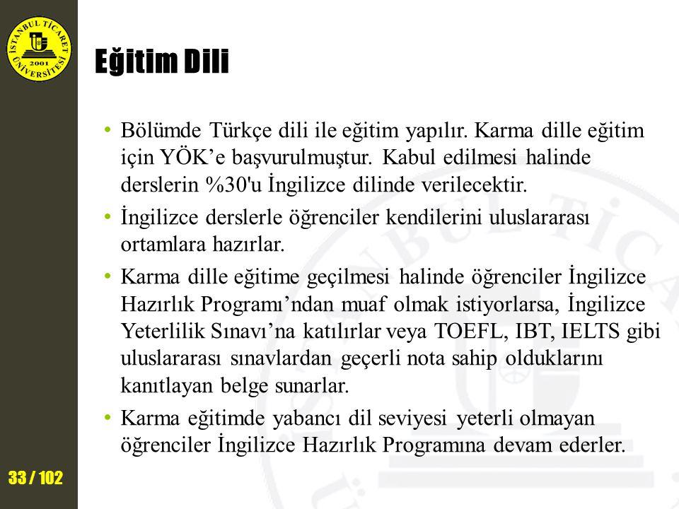 33 / 102 Eğitim Dili Bölümde Türkçe dili ile eğitim yapılır.