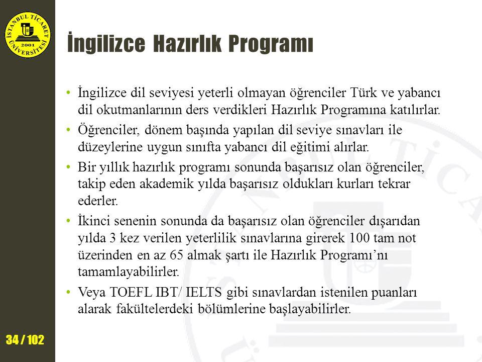 34 / 102 İngilizce Hazırlık Programı İngilizce dil seviyesi yeterli olmayan öğrenciler Türk ve yabancı dil okutmanlarının ders verdikleri Hazırlık Programına katılırlar.