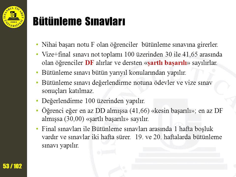 53 / 102 Bütünleme Sınavları Nihai başarı notu F olan öğrenciler bütünleme sınavına girerler.